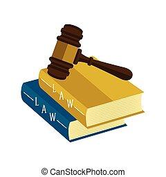 marteau, livres, droit & loi, icône