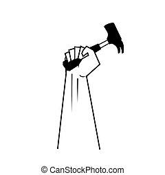 marteau, main