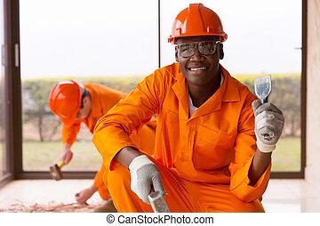 marteau, ouvrier, ciseau, tenue, africaine