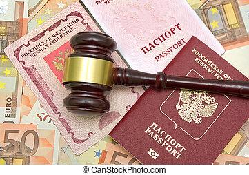 marteau, passeport, fond, euro
