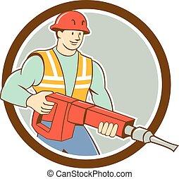 marteau-piqueur, cercle, ouvrier construction, dessin animé