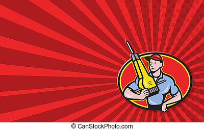 marteau-piqueur, construction, pneumatique, ouvrier, foret