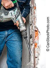 marteau-piqueur, maniement, ouvrier, forage, professionnel