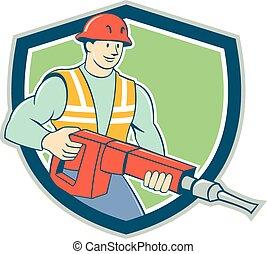 marteau-piqueur, ouvrier construction, bouclier, dessin animé