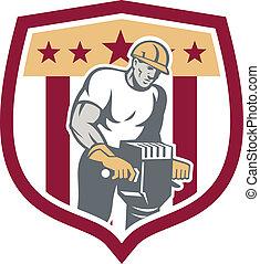 marteau-piqueur, ouvrier construction, bouclier, retro