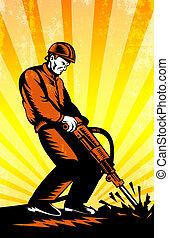 marteau-piqueur, ouvrier construction, retro, affiche