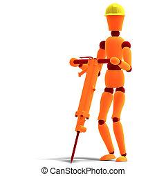 marteau-piqueur, ouvrier, rouges, homoncule, /, orange