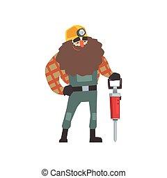 marteau-piqueur, sourire, mineur, barbu
