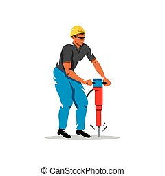 marteau-piqueur, vecteur, illustration., homme, dessin animé