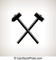 marteau, silhouette, marteau forgeron, traversé