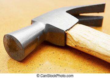 marteau, sur, a, table.