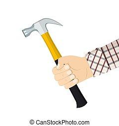 marteau, tenant main