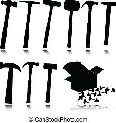 marteau, vecteur, silhouettes