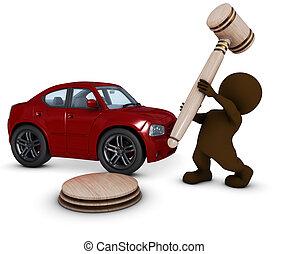 marteau, voiture, 3d, homme, morph
