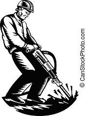 marteau, woodcut, ouvrier, cric, retro, marteau piqueur, blanc, construction, noir