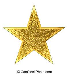 martelado, dourado, estrela, distinção