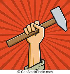 martello, pugno, presa a terra