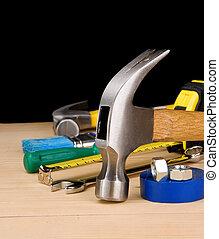 martelo, e, outro, construção, ferramentas, ligado, madeira