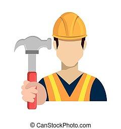 martelo, ferramenta, trabalhador, avatar, segurando