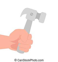 martelo, mão, fundo branco, construção, ferramenta