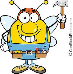 martelo, trabalhador, cima, segurando, abelha