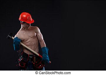 martelo, trenó, tiro, construtor, trabalhador, topless, jovem, experiência., construção, estúdio, pretas, bonito