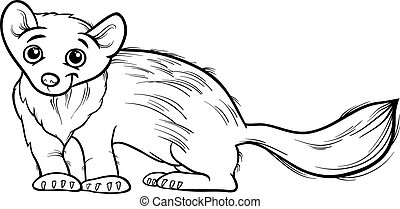 marten animal cartoon coloring book - Black and White...