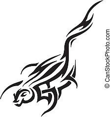 marten in tribal style - vector illustration