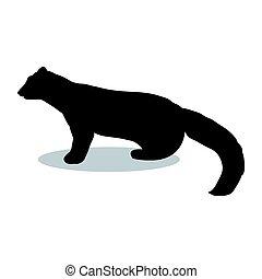 Marten wildlife black silhouette animal. Vector Illustrator.