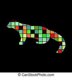 Marten wildlife color silhouette animal. Vector Illustrator.