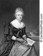 Martha Washington (1731-1802) on engraving from 1873. Wife...