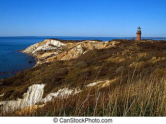 The beacon at Aquinnah bluff on a sunny day near Cape Cod, Massachusetts.