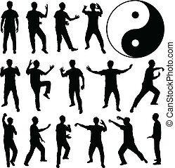 Martial Art Kung Fu Self Defense - A set of human silhouette...