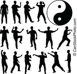 Martial Art Kung Fu Self Defense - A set of human silhouette...
