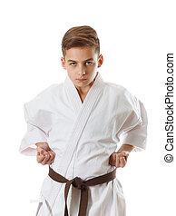 Martial art sport karate - child teen boy in white kimono training punch