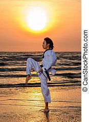 Martial art training at sunset