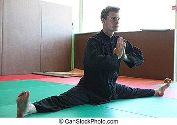 Martial artist doing the splits