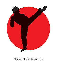 martial artist - abstract silhouette of martial artist on...