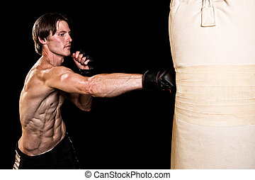 Martial Artist - Young adult martial artist with heavy bag. ...