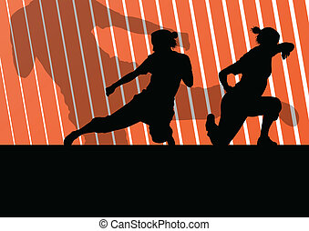 Martial arts active women self defense fighters silhouettes ...