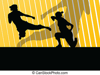 Martial arts active women self defense fighters silhouettes...