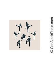 Martial arts active women silhouettes