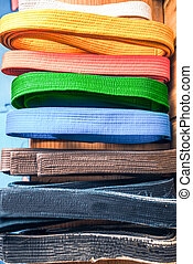 Martial arts, brown, orange, blue and black belts
