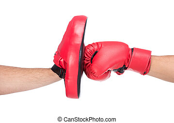 Martial arts - Close-up blow of a male boxer in boxing...