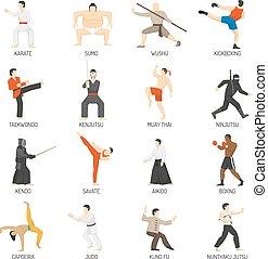 Martial Arts Decorative Flat Icons Set - Martial arts...