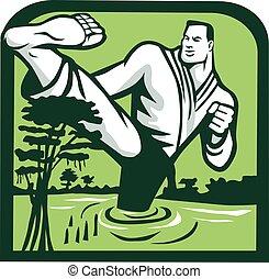 Martial Arts Fighter Kicking Cypress Tree Retro - ...