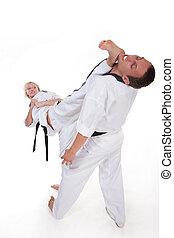 Martial arts fighter - Martial arts masters in kimono on...
