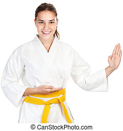 Martial arts girl, isolated on white background