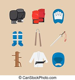 Martial arts icons or combat sports signs vector