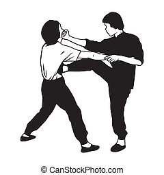 Martial arts illustration - Simultaneous punch and kick to...